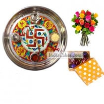 Golden Thali With Red Design And 20 Pcs Polka Dot Orange And White Color Chocolate Box With 10 Mix Roses Bunch