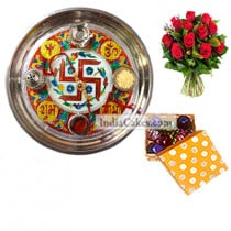 Golden Thali With Red Design And 20 Pcs Polka Dot Orange And White Color Chocolate Box With 10 Red Roses Bunch