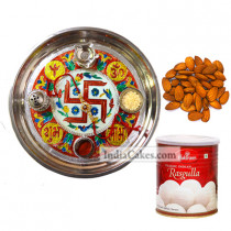 Golden Thali With Red Design And Rasgulla And Almond