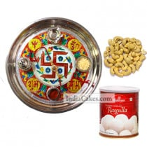 Golden Thali With Red Design And Rasgulla And Cashew
