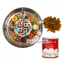 Golden Thali With Red Design And Rasgulla And Raisins