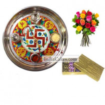 Golden Thali With Red Design And Golden Finish Design Chocolate Or Sweet Box With 10 Mix Roses Bunch
