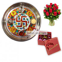 Golden Thali With Red Design And 20 Pcs Red Color Chocolate Box With Ribbon With 10 Red Roses Bunch