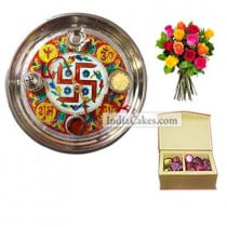 Golden Thali With Red Design And 20 Pcs Red Color Velvet Finish Chocolate Box With 10 Mix Roses Bunch