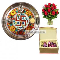 Golden Thali With Red Design And 20 Pcs Red Color Velvet Finish Chocolate Box With 10 Red Roses Bunch
