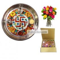 Golden Thali With Red Design And 16 Pcs Golden And Brown Stips Chocolate Box With 10 Mix Roses Bunch