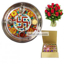Golden Thali With Red Design And 16 Pcs Golden And Brown Stips Chocolate Box With 10 Red Roses Bunch