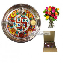 Golden Thali With Red Design And 16 Pcs Golden And Orange Stips Chocolate Box With 10 Mix Roses Bunch