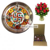 Golden Thali With Red Design And 16 Pcs Golden And Orange Stips Chocolate Box With 10 Red Roses Bunch
