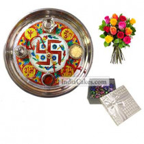 Golden Thali With Red Design And 20 Pcs Silver Color Chocolate Box With 10 Mix Roses Bunch