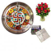 Golden Thali With Red Design And 20 Pcs Silver Color Chocolate Box With 10 Red Roses Bunch