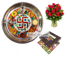Golden Thali With Red Design And 25 Pcs Brown Color Chocolate Box With 10 Red Roses Bunch