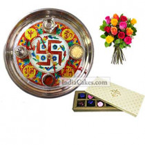 Golden Thali With Red Design And 10 Pcs Creme Color Chocolate Box With 10 Mix Roses Bunch