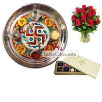 Golden Thali With Red Design And 10 Pcs Creme Color Chocolate Box With 10 Red Roses Bunch