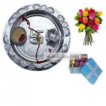 Silver Thali And 20 Pcs Blue Chocolate Box With Ribbon With 10 Mix Roses Bunch