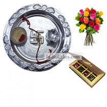 Silver Thali And 8 Pcs Velvet Finish Chocolate Box With 10 Mix Roses Bunch