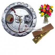 Silver Thali And 5 Pcs Brown Color Chocolate Box With 10 Mix Roses Bunch