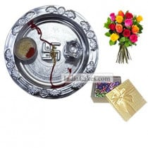 Silver Thali And 20 Pcs Golden Chocolate Box With 10 Mix Roses Bunch