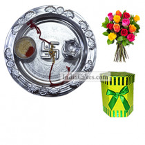 Silver Thali And Hexagon Shaped Green Color Chocolate Box With 10 Mix Roses Bunch