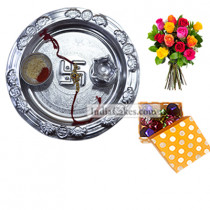 Silver Thali And 20 Pcs Polka Dot Orange And White Color Chocolate Box With 10 Mix Roses Bunch