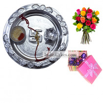 Silver Thali And 20 Pcs Pink Chocolate Box With Ribbon With 10 Mix Roses Bunch