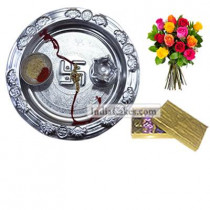 Silver Thali And Golden Finish Design Chocolate Or Sweet Box With 10 Mix Roses Bunch