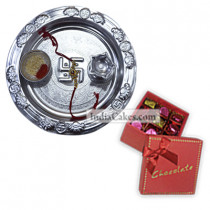 Silver Thali And 20 Pcs Red Color Chocolate Box With Ribbon