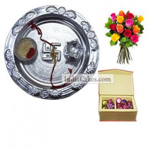 Silver Thali And 20 Pcs Red Color Velvet Finish Chocolate Box With 10 Mix Roses Bunch