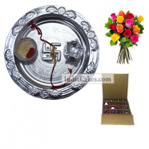 Silver Thali And 16 Pcs Golden And Orange Stips Chocolate Box With 10 Mix Roses Bunch