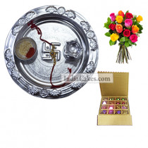 Silver Thali And 16 Pcs Golden And Brown Stips Chocolate Box With 10 Mix Roses Bunch