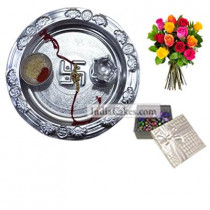 Silver Thali And 20 Pcs Silver Color Chocolate Box With 10 Mix Roses Bunch