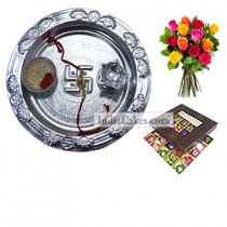 Silver Thali And 25 Pcs Brown Color Chocolate Box With 10 Mix Roses Bunch