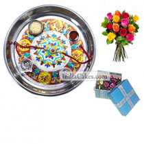 Silver Thali With Design And 20 Pcs Blue Chocolate Box With Ribbon With 10 Mix Roses Bunch