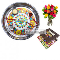 Silver Thali With Design And 25 Pcs Brown Color Chocolate Box With 10 Mix Roses Bunch