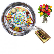 Silver Thali With Design And 8 Pcs Velvet Finish Chocolate Box With 10 Mix Roses Bunch
