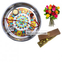 Silver Thali With Design And 5 Pcs Brown Color Chocolate Box With 10 Mix Roses Bunch