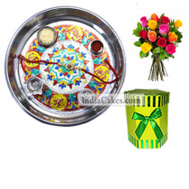 Silver Thali With Design And Hexagon Shaped Green Color Chocolate Box With 10 Mix Roses Bunch