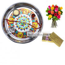 Silver Thali With Design And Golden Finish Design Chocolate Or Sweet Box With 10 Mix Roses Bunch