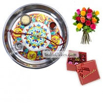 Silver Thali With Design And 20 Pcs Red Color Chocolate Box With Ribbon With 10 Mix Roses Bunch