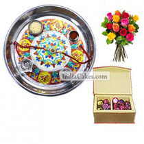 Silver Thali With Design And 20 Pcs Red Color Velvet Finish Chocolate Box With 10 Mix Roses Bunch