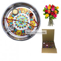 Silver Thali With Design And 16 Pcs Golden And Orange Stips Chocolate Box With 10 Mix Roses Bunch