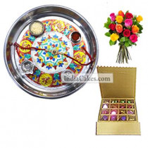 Silver Thali With Design And 16 Pcs Golden And Brown Stips Chocolate Box With 10 Mix Roses Bunch
