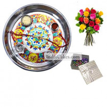 Silver Thali With Design And 20 Pcs Golden Chocolate Box With 10 Mix Roses Bunch