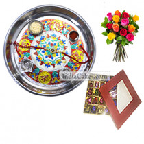 Silver Thali With Design And 25 Pcs Red Color Chocolate Box With 10 Mix Roses Bunch