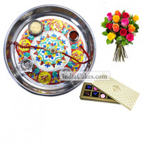 Silver Thali With Design And 10 Pcs Creme Color Chocolate Box With 10 Mix Roses Bunch