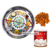 Silver Thali With Design And Rasgulla And Almond