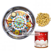Silver Thali With Design And Rasgulla And Cashew