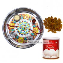 Silver Thali With Design And Rasgulla And Raisins