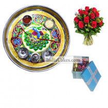 Golden Thali With Green Design And 20 Pcs Blue Chocolate Box With Ribbon With 10 Red Roses Bunch