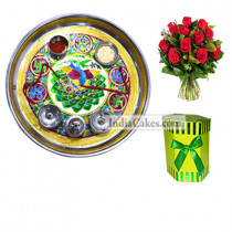 Golden Thali With Green Design And Hexagon Shaped Green Color Chocolate Box With 10 Red Roses Bunch